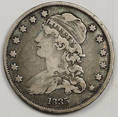 1835 Bust Quarter.  Error.  Huge Strike over Reverse.  Fine.  119563