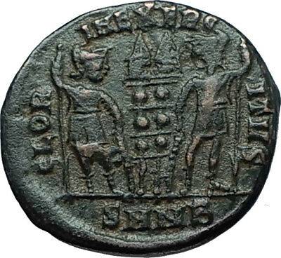 CONSTANTINE I the GREAT 330AD Authentic Ancient Roman Coin w SOLDIERS i66281