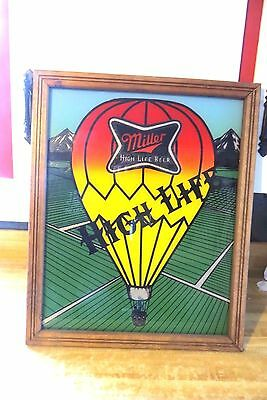 miller high life beer advertising hot air balloon reverse glass framed sign