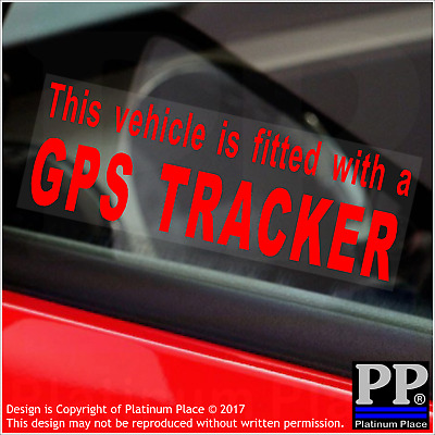 4 x Vehicle is Fitted with a GPS Tracker-RED-Internal Sticker-Warning,Device,Car