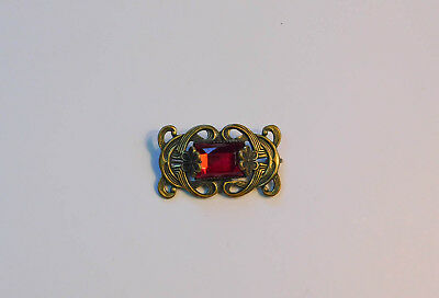 Antique Vintage Red Stone Pin Brooch Art Nouveau Victorian Brass #396