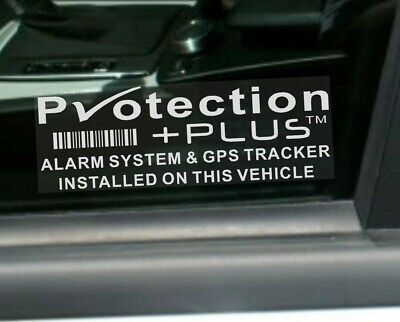 5 x Protection Plus-GPS-WHITE-Alarm Security Stickers-Car,Taxi,Tracker Warning