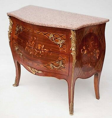 French Inlaid Bombe Base Rose Granite Top & Brass Ormalo 2 drawer Chest Commode