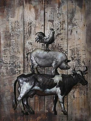 Wall Hanging Art Picture - Metal Farmyard Cow Pig Chicken - 80cm x 60cm