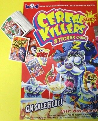 Cereal Killer 1St Series  Stickers Complete Set Of 55 +  Poster Ala Wacky Packs