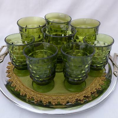 Indiana Glass Set GREEN  Whitehall ..8..   Footed Glasses/Goblets 8 & 4 Oz..8pc