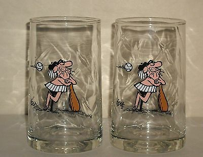 Vintage 1981 Arby's B.C. Ice Age WILEY Collector Glasses set of 2 Johnny Hart