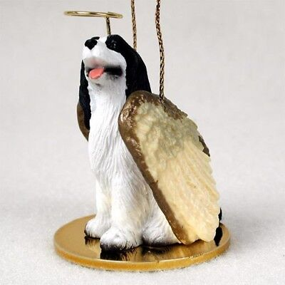 Springer Spaniel Black Dog ANGEL Tiny One Ornament Figurine Statue