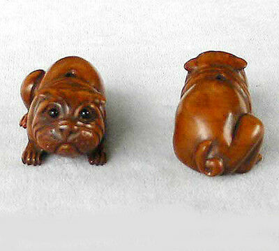 INTRICATELY CARVED - BOXWOOD SHARPEI Dog Bead 4128nn