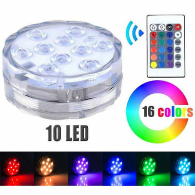 10 LED RGB Submersible Waterproof Wedding Party Vase Base Floral Light Remote