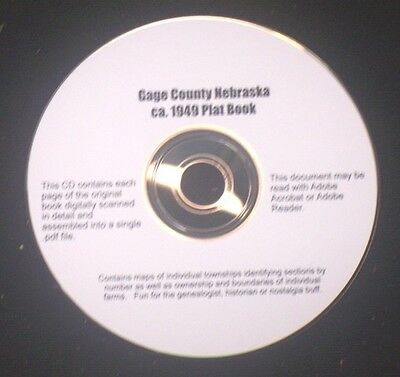 CD ~ ca.1949 Gage County Nebraska Plat Map Atlas with Directory & Advertisers