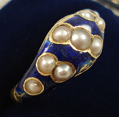 Antique 15ct Gold Blue Enamel & Pearl Ring.