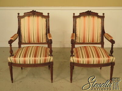 23190E: Pair Of French Louis XVI Carved Walnut Fauteils Open Arm Chairs