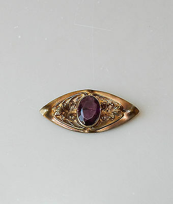 Antique Vintage Amethyst Purple Glass Stone Pin Leaves Victorian Brass #168