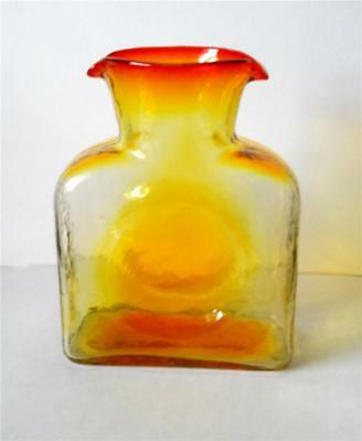Vintage Blenko Amberina Double Spout Vase Bottle Pitcher Mid Century