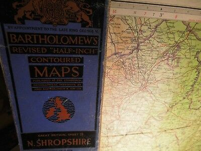 North Shropshire Shrewsbury,marches: 1948 Map Bartholomew's Topographic Colour