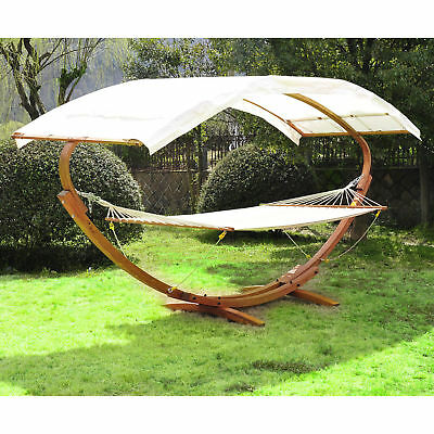 Patio Outdoor Curved Arc Double Hammock Stand Wooden Bed Camping W/Canopy