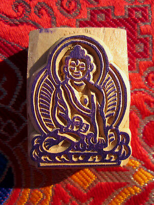RARE HAND-CARVED SOLID WOOD Tibetan Buddhist BUDDHA RUBBER STAMP ART NEPAL