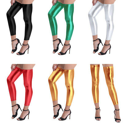 US Leather Stockings Shiny Women's Sexy Stretchy Footless Thigh-high Long Socks