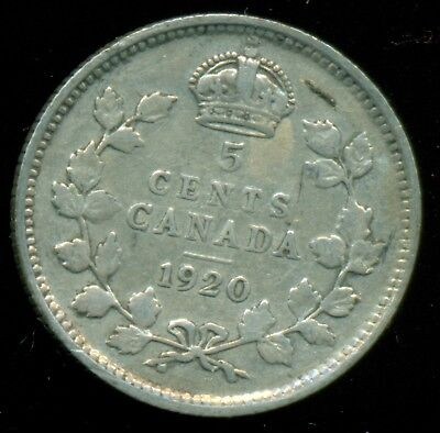 1920 Canada Silver 5 Cent, King George V