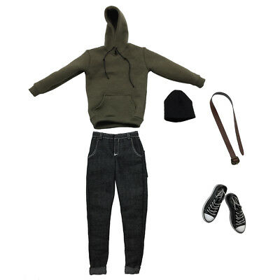 """1/6 Army Green Hoodie Jeans Clothes Set For 12"""" Hot Toys Male Action Figure"""
