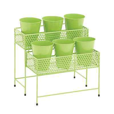 17-inch Metal 2-tier Green Plant Stand