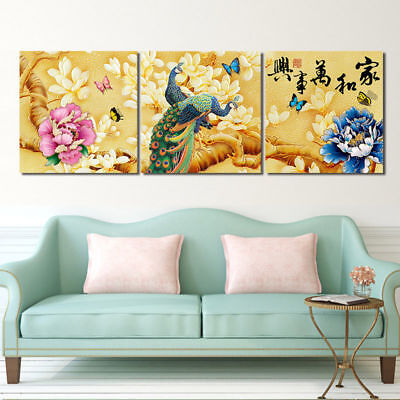 """Peony Peacock Butterfly-Home Wall Decor Modern Art Prints On Canvas 16x16""""x3pc"""