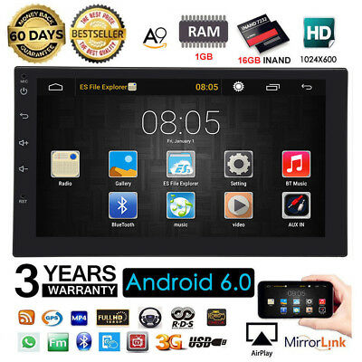 "7"" 2DIN Quad Core Android 7.0 3G WIFI Double Car Radio Stereo MP5 Player GPS Nav"