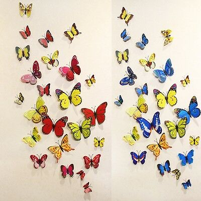 Children Room 12pcs 3D Butterfly Wall Sticker Home Room Wall Paper Decor 9 Style
