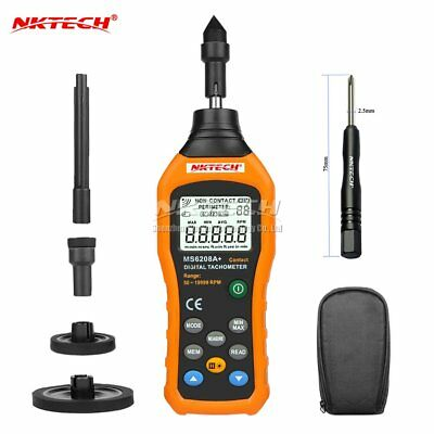 NKTECH MS6208A+ Contact-Type Digital Tachometer Meter Motor Speed Gauge Test