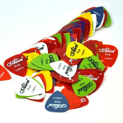 Lots of 100pcs Alice 0.58mm Thin Smooth Nylon Guitar Picks Assorted Colors AP-E