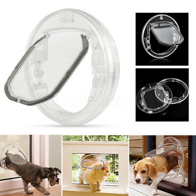 4 Ways Round Clear Locking Flap Pet Door Cat Small Dog for Screen Glass Window