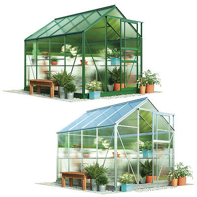 Garden Grow 6x8' Greenhouse Polycarbonate Aluminium Sliding Door Plastic Glazing