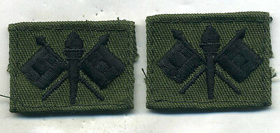Vietnam Era Pair U.s. Army Sew On Signal Corps Officer Insignia On Od Twill