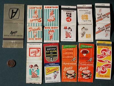 1960-70s Era Frisch's Big Boy Triple Decker Hamburger ELEVEN matchbook set-Azars