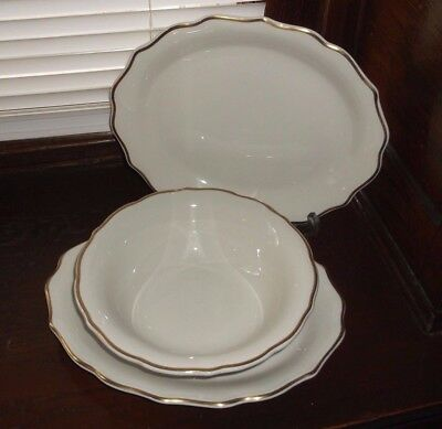 3 Syracuse China GOURMET Restaurant Ware Gold Rim Serving Bowl & Oval Platters *