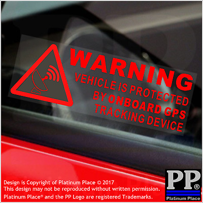 5 x RED WARNING On Board GPS Tracking Device Stickers-Car,Van,Taxi,Sign,Secure