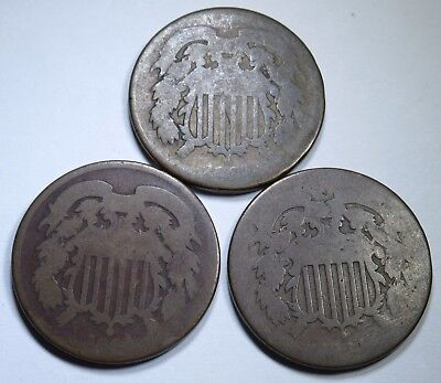 3 Old AG U.S. 2C Two Cent Piece 2 Penny US Antique Currency Coins Real USA Money