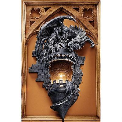 Design Toscano Dragon's Castle Lair Illuminated Graystone Finish Wall Sconce