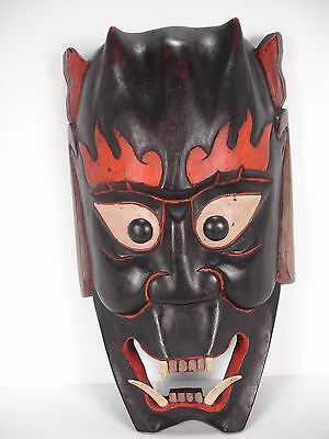 Hand Carved Wood Devil Mask Wall Decor Made In Taiwan Republic Of China