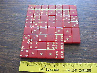 Vintage 26 Red Marblelike Dominoes