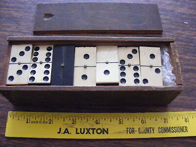 Vintage Ebony And Bone 1800's Dominoes Brass Spinner Full Set In Wood Box