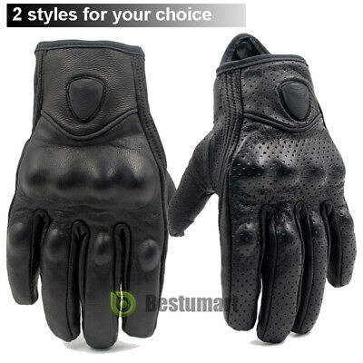 Touch Screen Motorcycle Leather Gloves Bicycle Riding Racing Protective Armor US