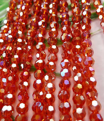 Free Ship 1000pcs AB red round Faceted glass crystal loose Spacers bead 4mm
