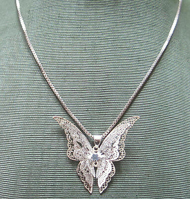 """Gorgeous Vintage Sterling Silver Butterfly Necklace Big 3D 1 1/2"""" Blue Stone"""