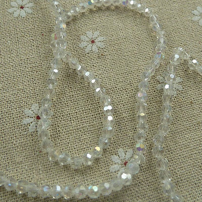 1000pcs clear AB glass crystal Round Faceted loose bead 4mm ZH254