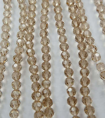 Free Ship 1000pcs champagne round Faceted glass crystal loose Spacers bead 4mm