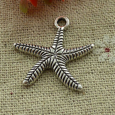 free ship 140 pieces tibetan silver starfish charms 25x25mm #3059
