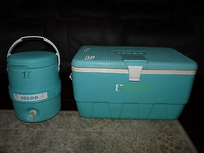 Vintage Igloo Cooler Set 2 Gallon Thermos Water Jug Seafoam Green Pair Chest