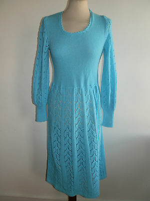 Vintage 1970's 40's Revival Style Blue Knitted Long Sleeve Scoop Neck Dress 10